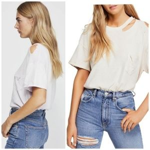 Free People Lucky Tee Shirt Top in Ivory